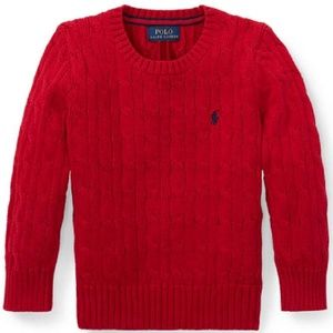 Polo Ralph Lauren Cable Knit Red Sweater Size 8
